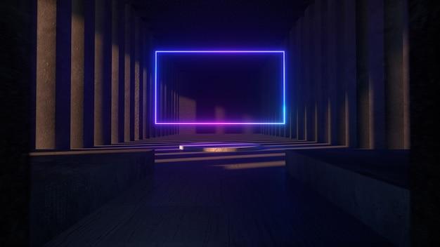 Heller neonrahmen in der mitte eines steinbetonmuseums