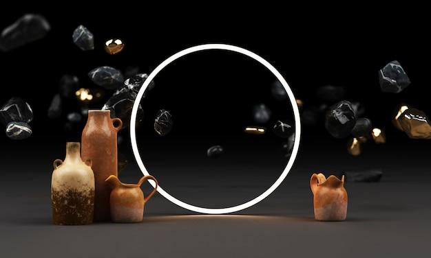 Heller schein von geometrischen formen, neon-cyberpunk-hintergrund mit rotem blumentopf und vasen-freiform-3d-rendering