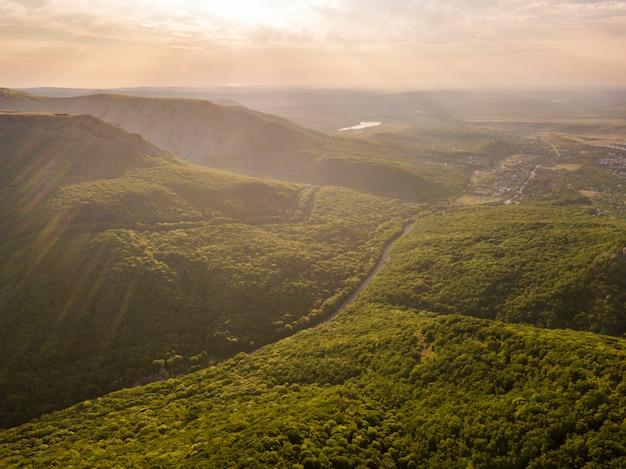 Heller sommersonnenschein im hochgebirge bedeckt mit wald