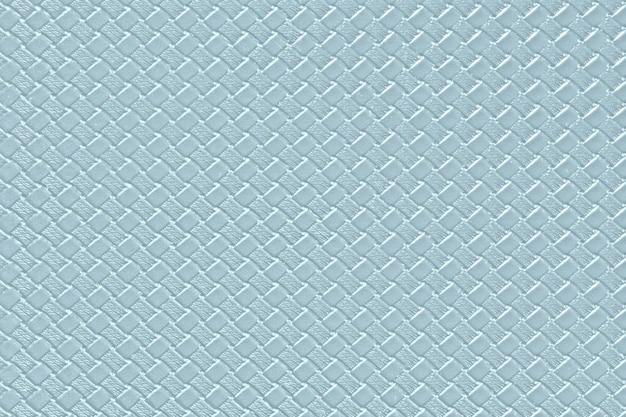 Heller stahlblauer lederner hintergrund mit nachgemachter webartbeschaffenheit. glänzende kunstlederstruktur.