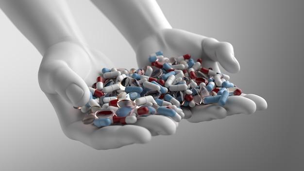 Helles 3d-rendering mit farbigen und transparenten pillen auf weißen händen. blaue, rote farben. weiches licht und schatten. mit tiefenschärfe-effekt.