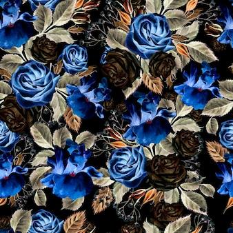 Helles aquarell blüht nahtloses muster mit rosen, iris und anemonen. illustration