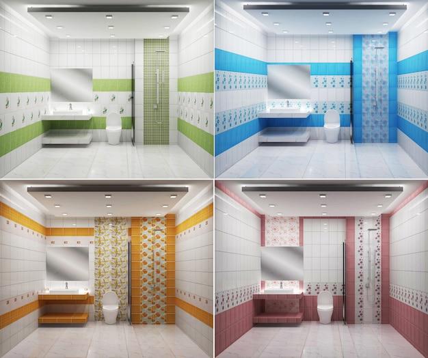 Helles badezimmer design fliesen rosa grün blau und gelb, moderne bunte art