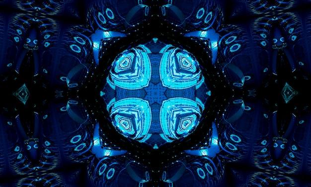 Helles kaltes cyan-quadrat-mittelpunkt-zeichnungsform-kunstdesign. große fuzzy magische kugelform im modernen künstler. marineaquafarbenes buntes energieboom-ballsymbol auf dunklem fond. kaleidoskop der tiefsee.