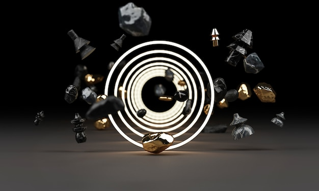 Helles leuchten von geometrischen formen mit rock-3d-rendering