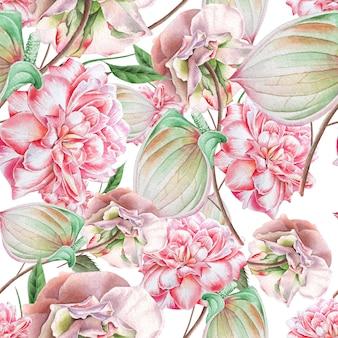 Helles nahtloses muster mit blumen. rose. anthurium. aquarellillustration. handgemalt.