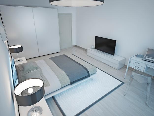 Hellgraues schlafzimmer minimalistisches design.