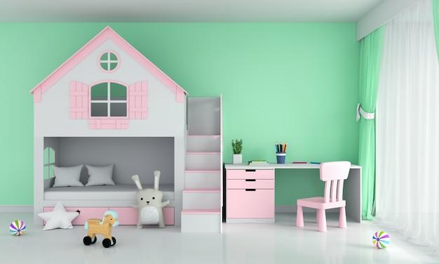 Hellgrüner kinderschlafzimmerinnenraum