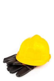 Helm und schutzhandschuhe