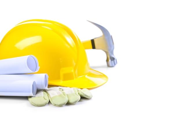 Helmhandschuh blaupausen und hammer Premium Fotos