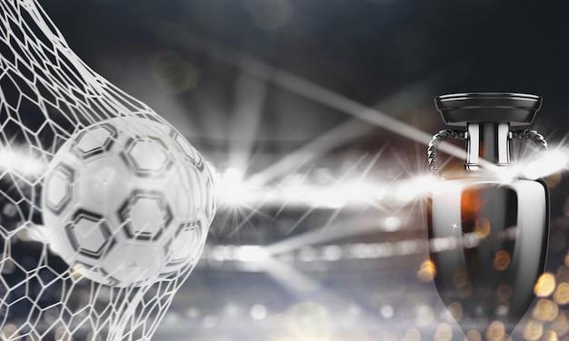 Herausforderung für die eroberung des pokals in einem fußballspiel
