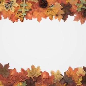 Herbst-accessoires als bilderrahmen gestaltet