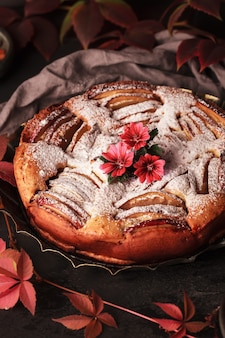 Herbst apfelkuchen. hausgemachte kuchen auf der oberfläche von weinblättern. apfelkuchen mit zimt.