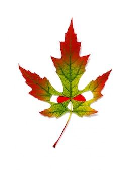 Herbst färbte gelbes und rotes ahornblatt im stil halloweens - gesicht mit roten augen. isoliert