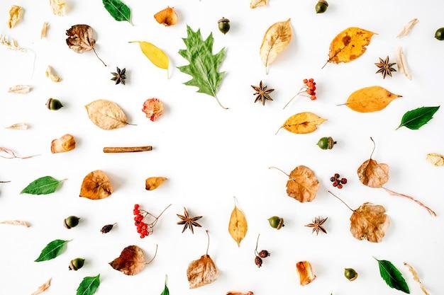 Herbst herbst flach lag, draufsicht kreative musteranordnung.