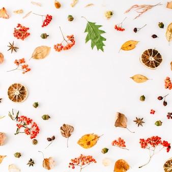 Herbst herbst flach legen, draufsicht kreative rahmenanordnung.