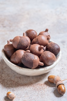 Herbst herbst schokoladenkuchen pops sehen aus wie eichel