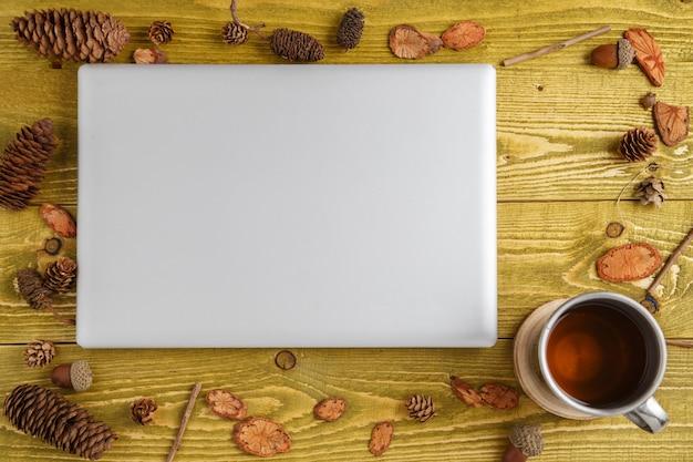 Herbst hintergrund. flach liegen. holz, zapfen, eicheln und laptop auf grünem grunge hölzernem hintergrund