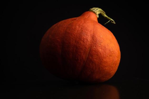 Herbst-hokkaido-kürbis oder red kuri auf schwarzem hintergrund. frischgemüse-lebensmittelkonzeptfoto