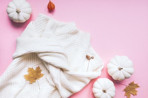 Herbst komposition mit weißen pullover und kürbisse