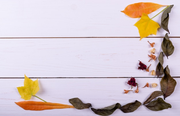 Herbst-konzept. draufsicht. gestell aus getrockneten blüten, getrocknete blätter