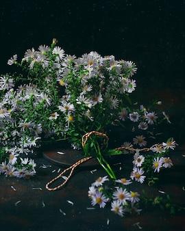 Herbst pflanzt astern (aster) in einem weinlesevase. dunkles foto