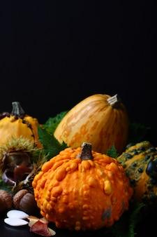 Herbstaufbau über schwarzem. erntedankfest-konzept