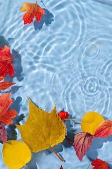 Herbstblätter auf der wasseroberfläche. schöner wasserwellenhintergrund mit kopienraum