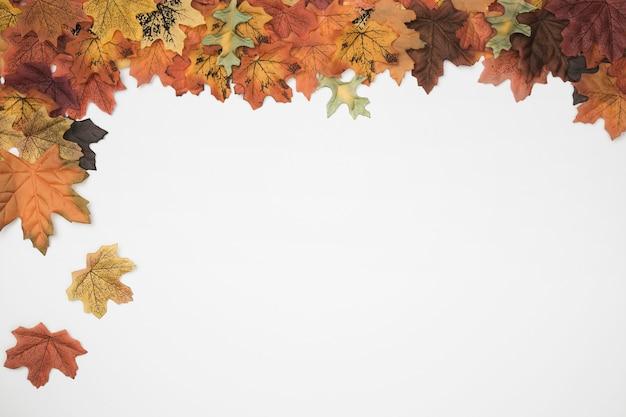 Herbstblätter, die vom seitenrahmen fallen