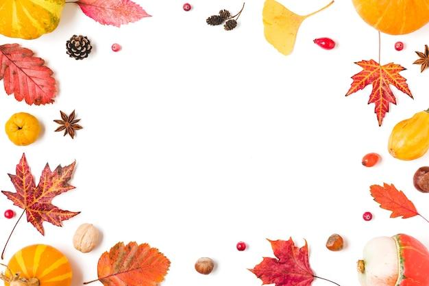 Herbstblätter, kürbisse, blumen, beeren, quitten, nüsse isoliert