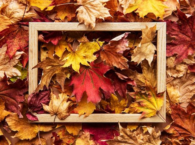 Herbstblattkomposition mit bilderrahmen. natürlicher hintergrund