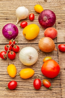 Herbsternte gemüse. zusammenstellung der verschiedenen arten zwiebeln und tomaten