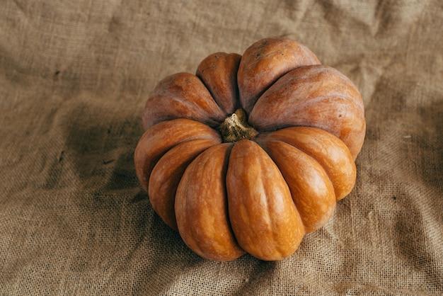 Herbsternte. kürbisse auf sackleinen.