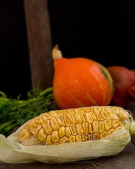 Herbsternte von mais und kürbis