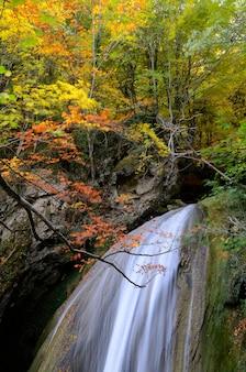 Herbstfotografie eines wasserfalls im urederra river natural reserve. navarra. spanien
