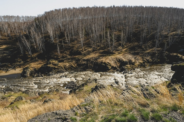 Herbstgebirgsfluss-stromlandschaft