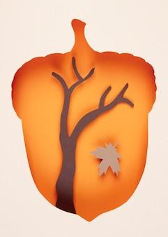 Herbstgesteck im papierstil