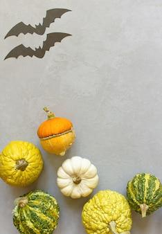 Herbsthalloween-kürbise, grauer hintergrund