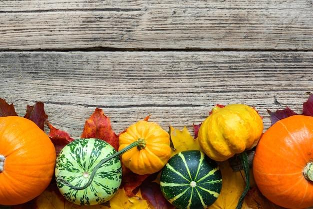 Herbsthintergrund mit geernteten kürbissen, äpfeln, nüssen und ahornblättern