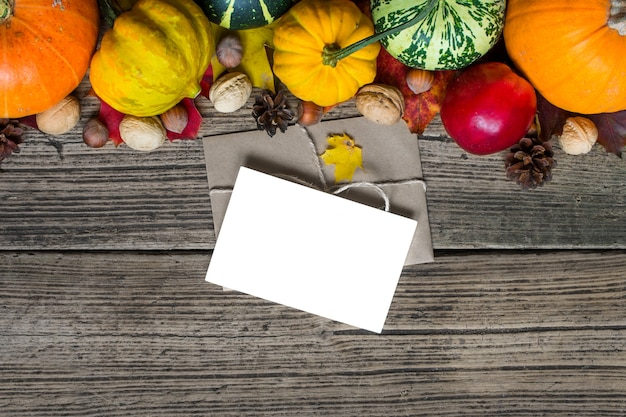 Herbsthintergrund mit geernteten kürbissen, äpfeln, nüssen