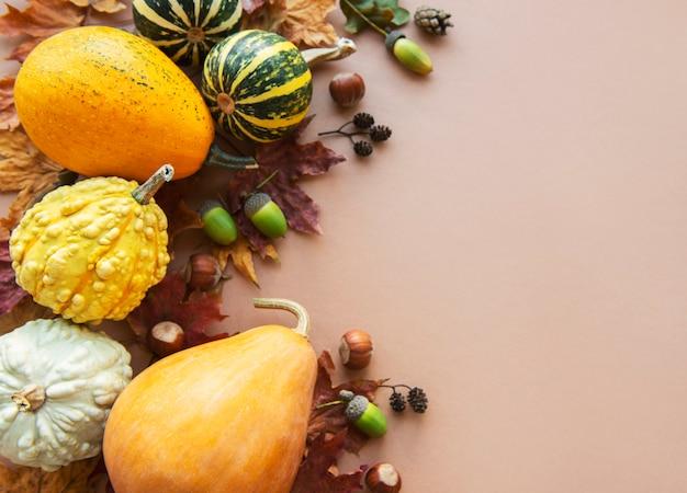 Herbsthintergrund mit mehrfarbigen kürbissen auf braunem hintergrund