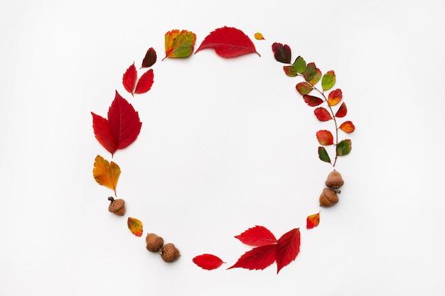 Herbsthintergrund mit natürlichem dekor. kranz aus herbstgetrockneten blättern. flache lage, draufsicht. kopieren sie platz für saisonale aktionen und rabatte. herbst, erntedankfest konzept