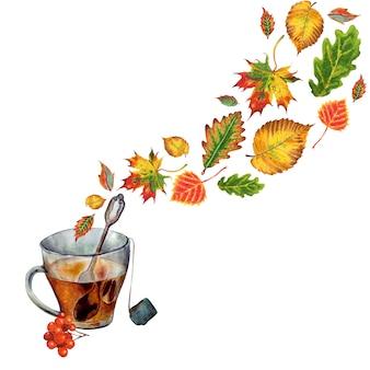 Herbstillustration mit einer tasse heißem tee und blättern in form eines dampfaquarellbildes