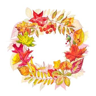 Herbstkomposition. kranz aus herbstbeeren und blättern. aquarellillustrationen.