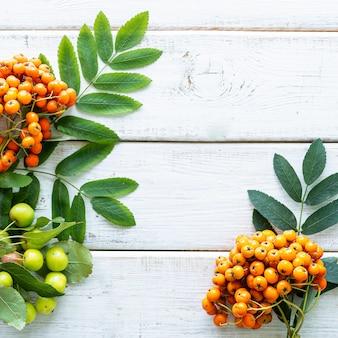 Herbstkomposition mit äpfeln, kürbis, paradiesäpfeln und blättern
