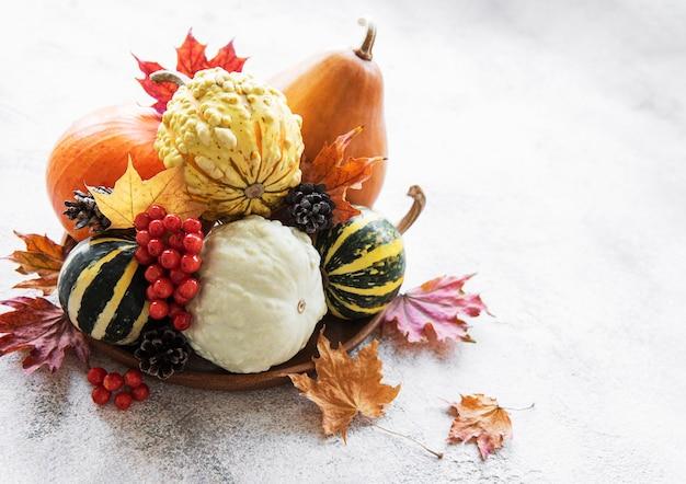 Herbstkomposition mit mehrfarbigen kürbissen auf rustikalem hintergrund
