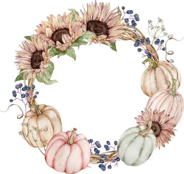Herbstkranz mit kürbissen und sonnenblumen.