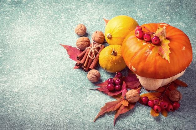 Herbstkürbis-danksagungszusammensetzung auf einem blauen hintergrund