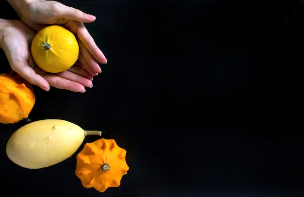 Herbstkürbisschwarz-hintergrundhände
