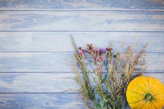 Herbstkürbisse und trockene blumen